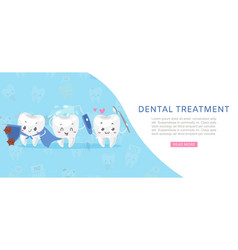 Dental tratment cute healthy white teeth with vector