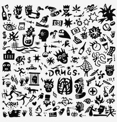 Drugs crime doodles vector