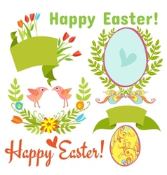 Egg birds flowers easter vector