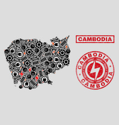 electrical mosaic cambodia map and snow and vector image