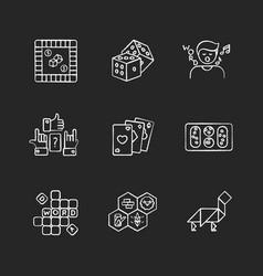 Entertaining games chalk white icons set on black vector