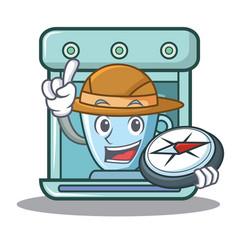 Explorer coffee maker character cartoon vector