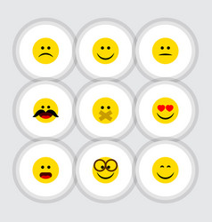 Flat icon gesture set of wonder hush smile and vector