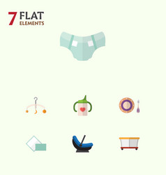 Flat infant set of playground pram mobile and vector