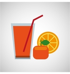 fresh juice orange and cup glass straw design vector image
