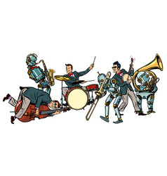 futuristic jazz orchestra of humans and robots vector image