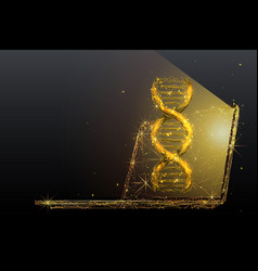 genetic engineering low poly in gold vector image
