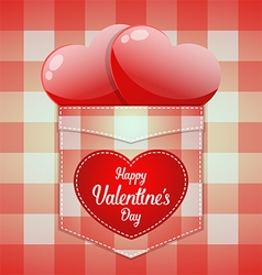 Glossy red heart in pocket with Happy Valentines vector image