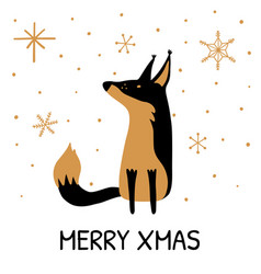 greeting card with hand drawn cute fox vector image