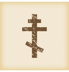 Grungy orthodox cross icon vector