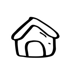 hand drawn home symbol doodle icon vector image