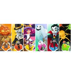 Happy halloween scarecrow pumpkin skeleton witch vector