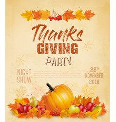 Happy thanksgiving flyer with colorful leaves vector