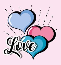hearts design to love symbol icon vector image