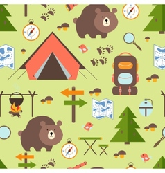 Hike in the woods seamless pattern vector image