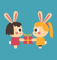 Homosexual Bunny Couple Trading a Present vector image