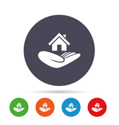 house insurance sign hand holds home symbol vector image