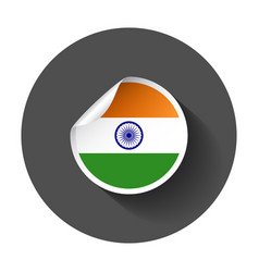 india sticker with flag with long shadow vector image