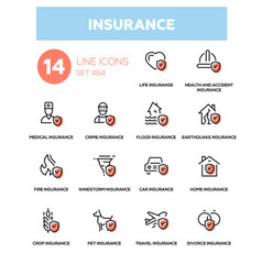 Insurance concept - line design icons set vector