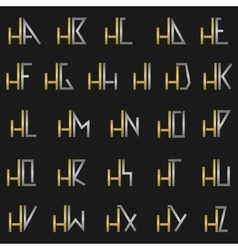 Letter H with alphabet vector