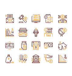 linear icon set financial crisis crash vector image