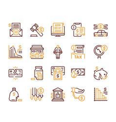 Linear icon set financial crisis crash vector