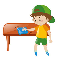 Little boy cleaning table with cloth vector