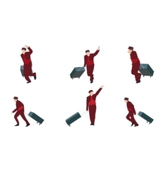 Man Goes to the Suitcase vector