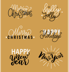 merry christmas holly jolly quote happy new year vector image