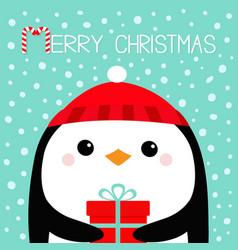 Merry christmas penguin bird head face holding vector