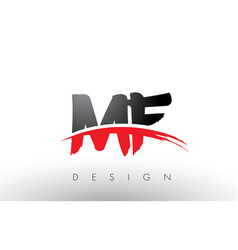 Mf m f brush logo letters with red and black vector