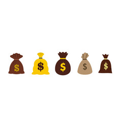 money bag icon set flat style vector image