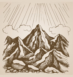 Mountains and rocks against sky with clouds vector