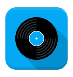 Music vinyl disc flat app icon with long shadow vector image