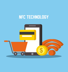 Nfc technology mobile phone shopping cart wifi vector