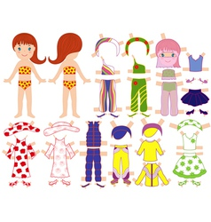 Paper doll and a set of clothing for the summer vector image