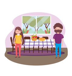 Parents with cake and fruits dining room happy vector