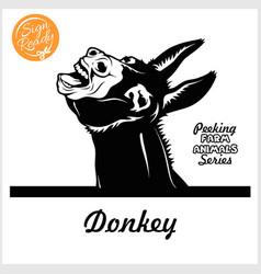 Peeking donkey - cheerful neighing donkey peeking vector