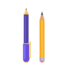 pen and pencil icons isolated vector image