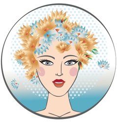 Portrait of a young girl with floral head vector