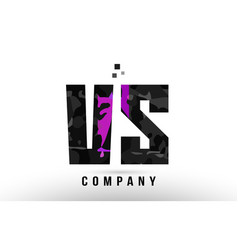 purple black alphabet letter vs v s logo vector image