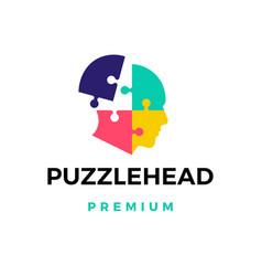 Puzzle head logo icon vector