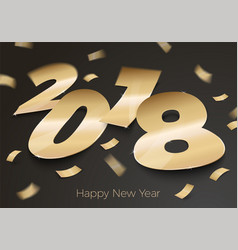 Realistic golden foil paper number 2018 vector