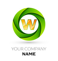 Realistic letter w logo in the colorful circle vector