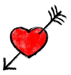 red heart pierced arrow vector image vector image