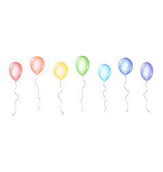 set colorful watercolor balloons isolated vector image