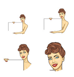Set female avatars in pop art style vector