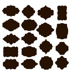 Set of black silhouette frames for badges vector