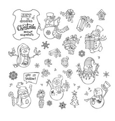 Set of cute doodles snowmen vector