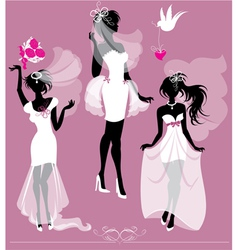 Set of girls silhouettes dressing Wedding gown vector image